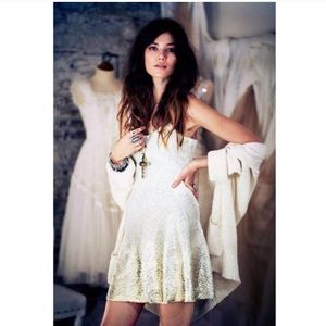 Free people ombre ivory gold foil fit flare dress